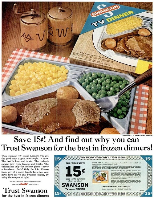Swanson TV Dinner Ad with coupon